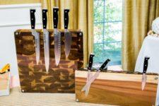 DIY transparent knife block with plexiglass