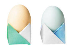 DIY colorful origami egg holders for Easter