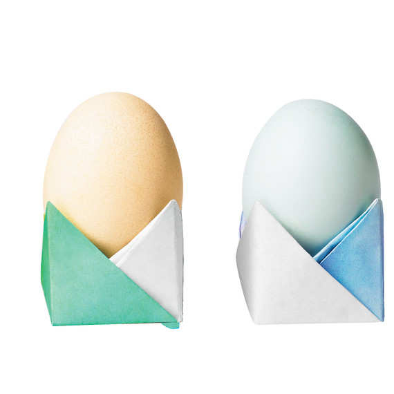 DIY colorful origami egg holders for Easter (via www.marthastewart.com)
