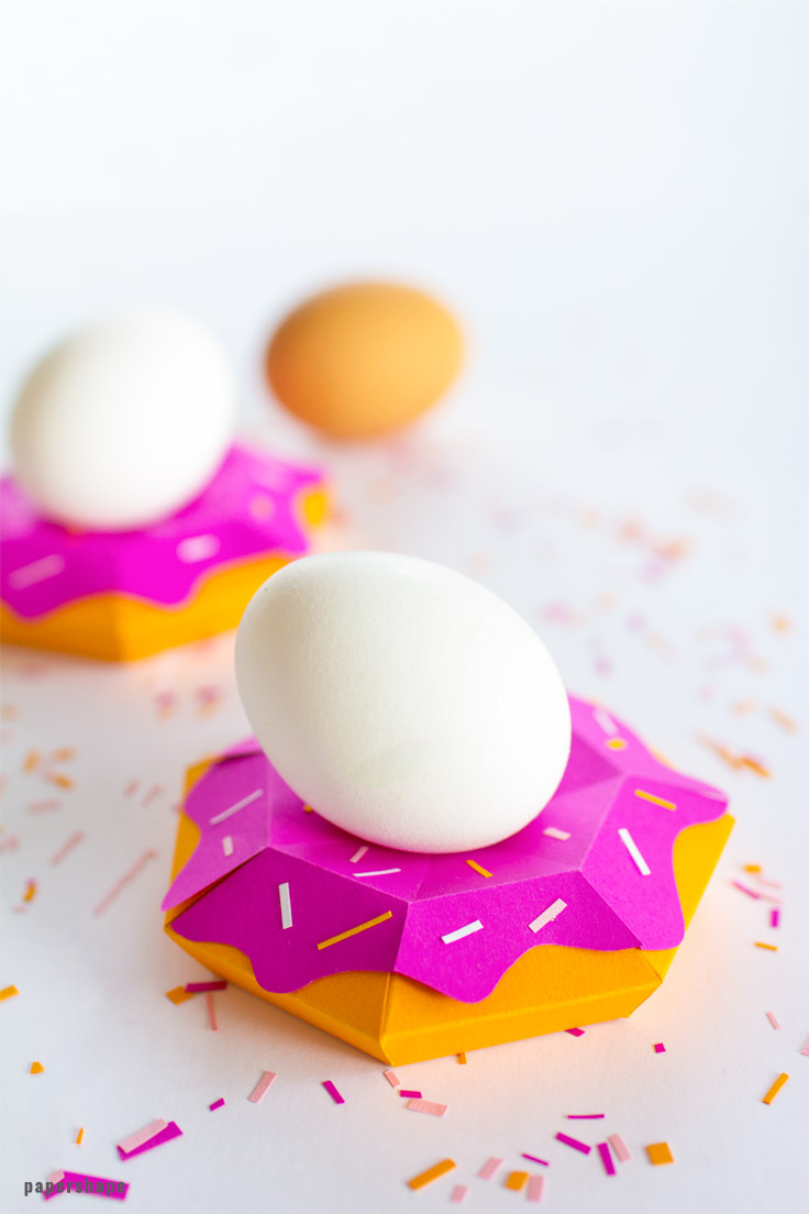 DIY colorful donut egg holders (via www.paper-shape.com)