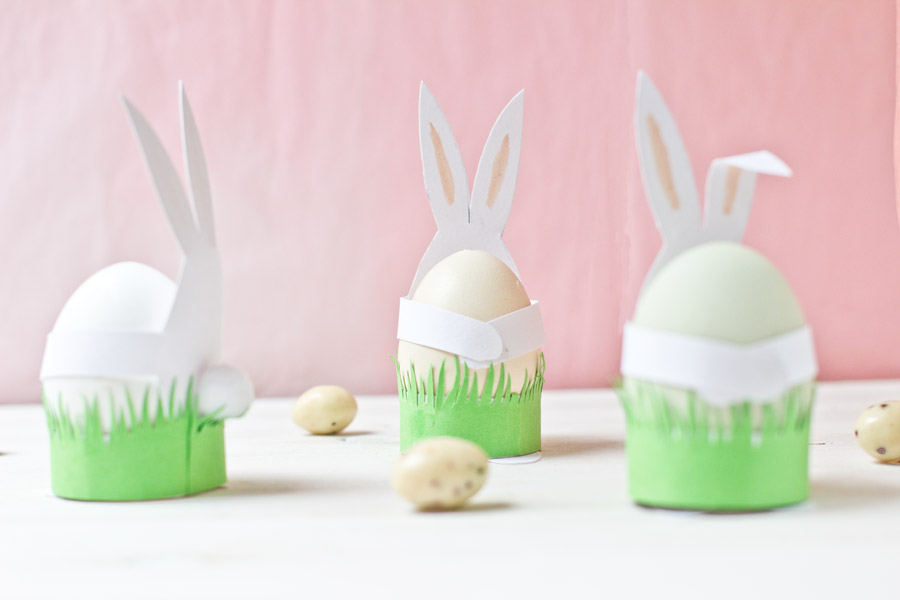 DIY cute paper bunny egg holders for Easter
