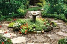 gravel paths combined with rocks for a wild-looking garden