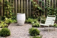 pea gravel with pavers looks chic and neat and though furniture won't sit comfortably on gravel, you may add pavers there