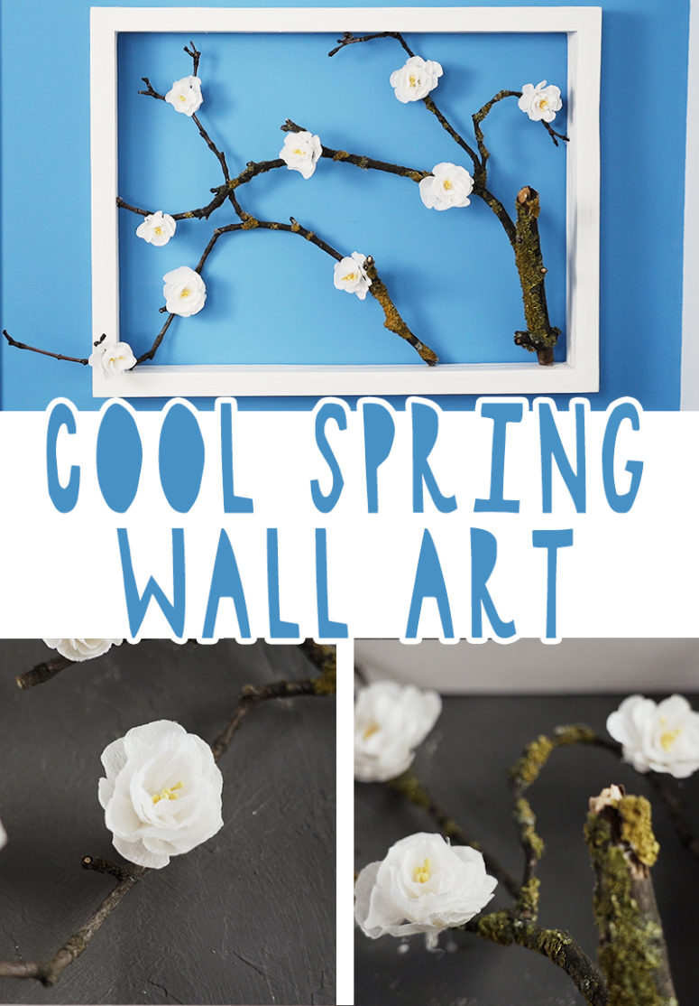 beautiful diy spring wall art with cherry blooms