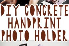 01 diy concrete handprint photo holder