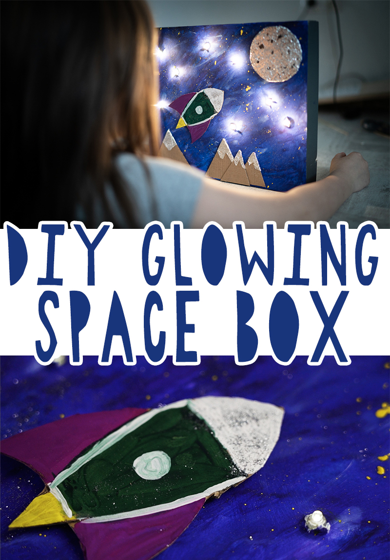 diy glowing space box for international space day