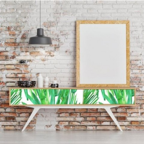 a tropical leaf printed long console table will turn your entryway or living room bold and chic
