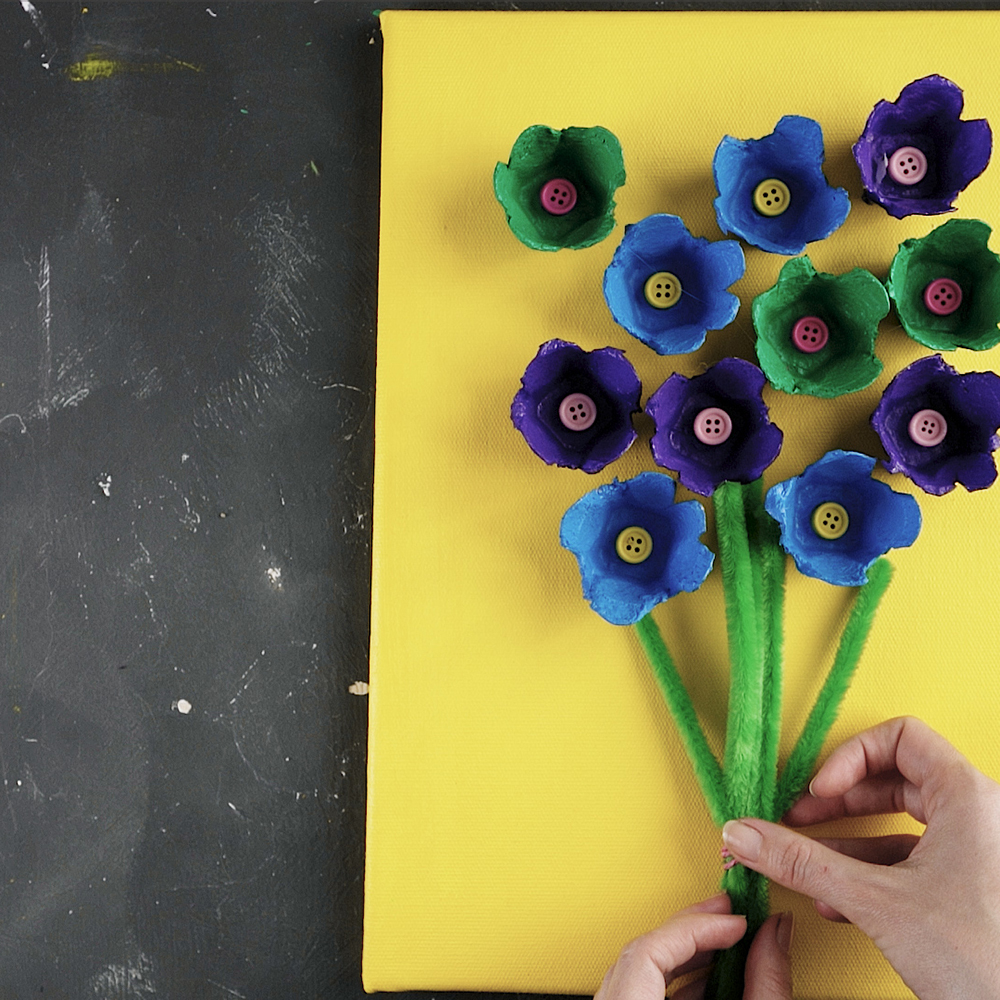 colorful diy egg carton wall art