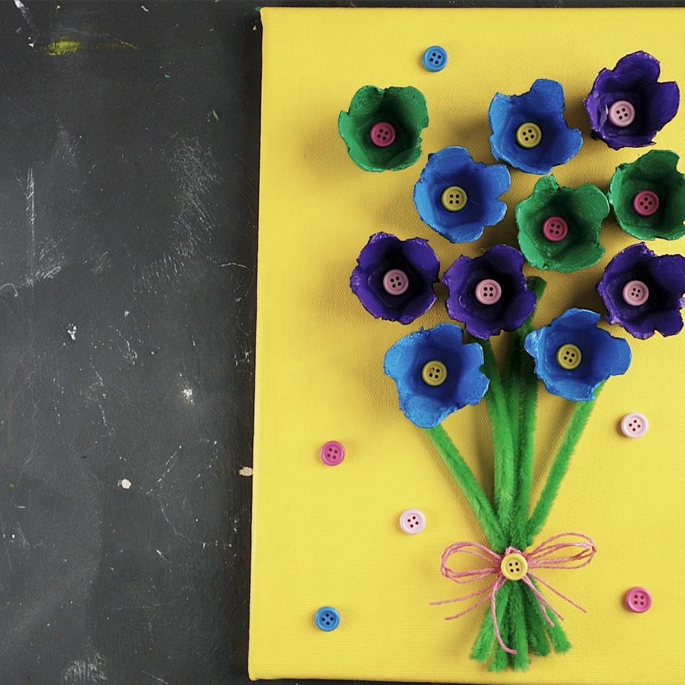 colorful diy egg carton wall art