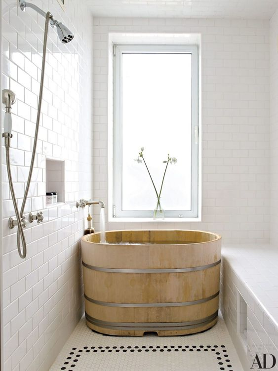 a classic Japanese ofuro bathtub is a great piece of relaxation and soaking there and will match a contemporary bathroom
