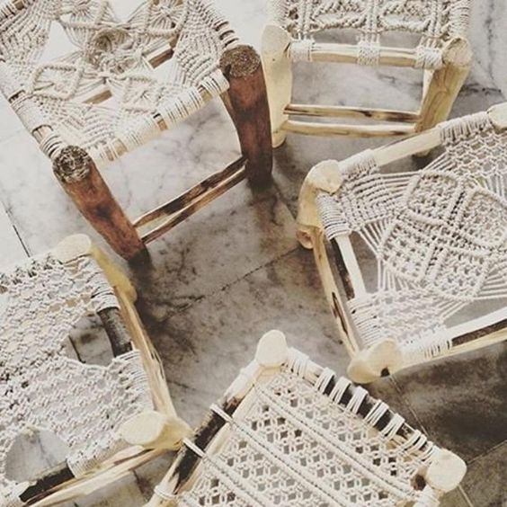 boho stools with macrame seats and stained wooden legs look very chic and ethereal