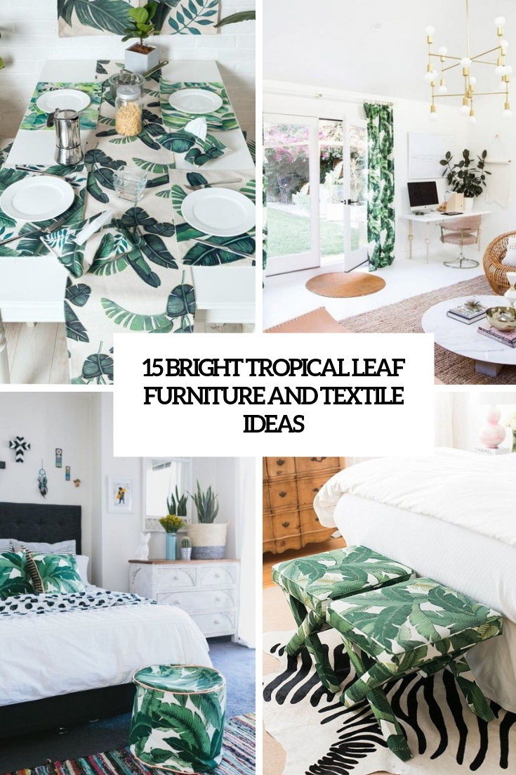 bright tropical leaf furniture and textile ideas cover