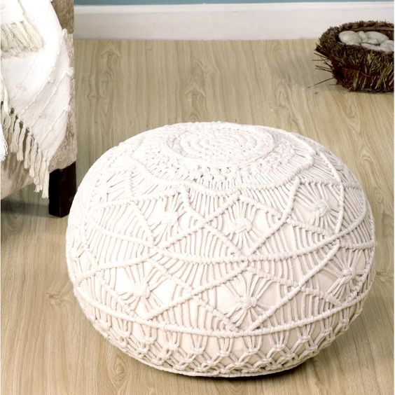 a white macrame pouf is a must for a boho home, you can easily DIY some macrame and wrap an existing piece