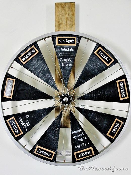DIY bike wheel and chalkboard calendar (via thistlewoodfarms.com)