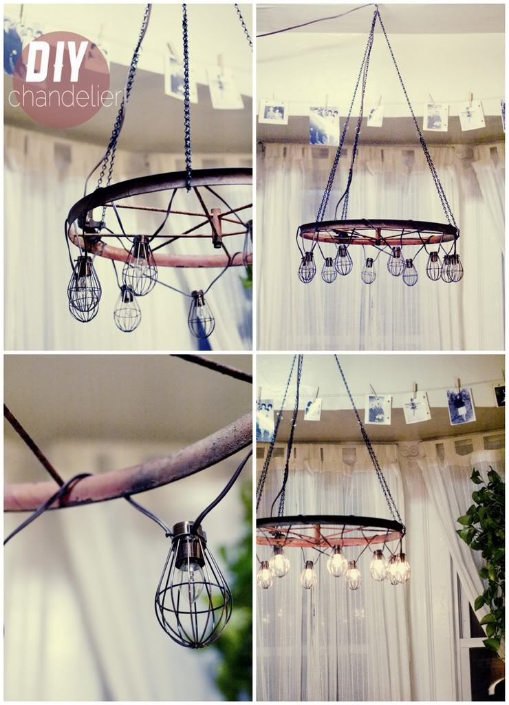 DIY industrial chandelier with bulbs and a bike wheel (via miconfesion.dk)