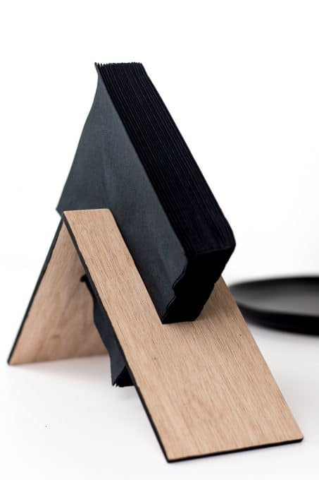 DIY geometric wooden napkin holder (via undefined)