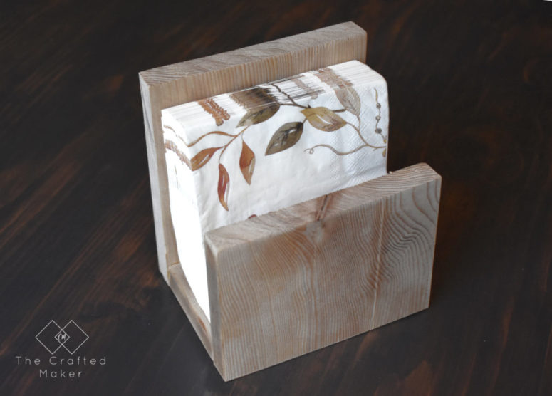DIY simple scrap wood napkin holder (via undefined)