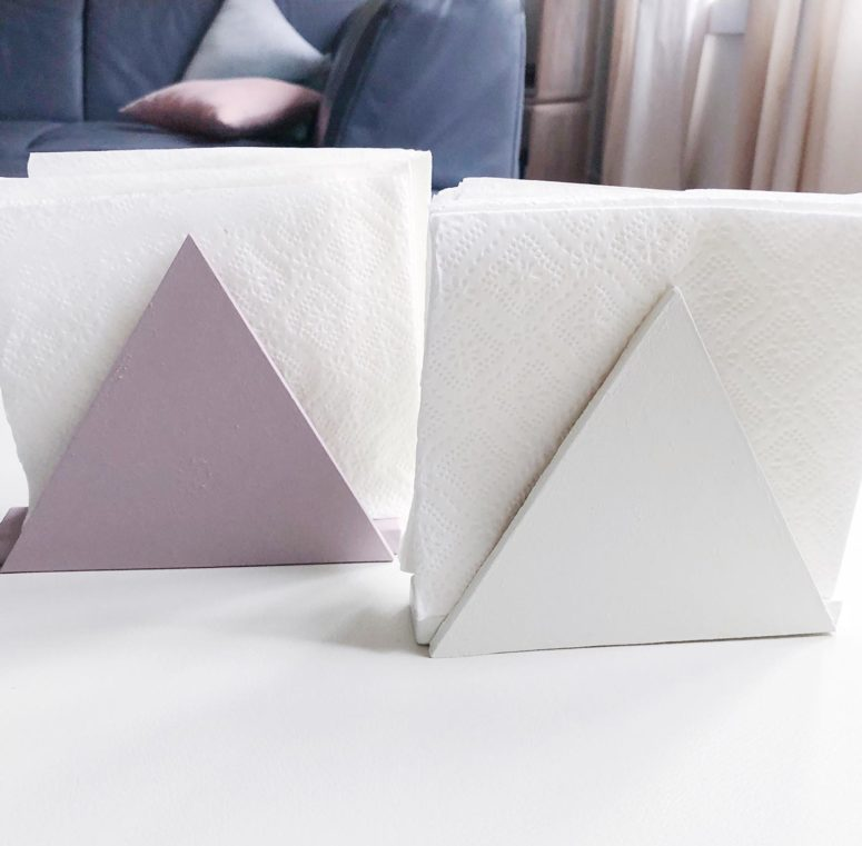 DIY triangle napkin holders of painted wood (via undefined)