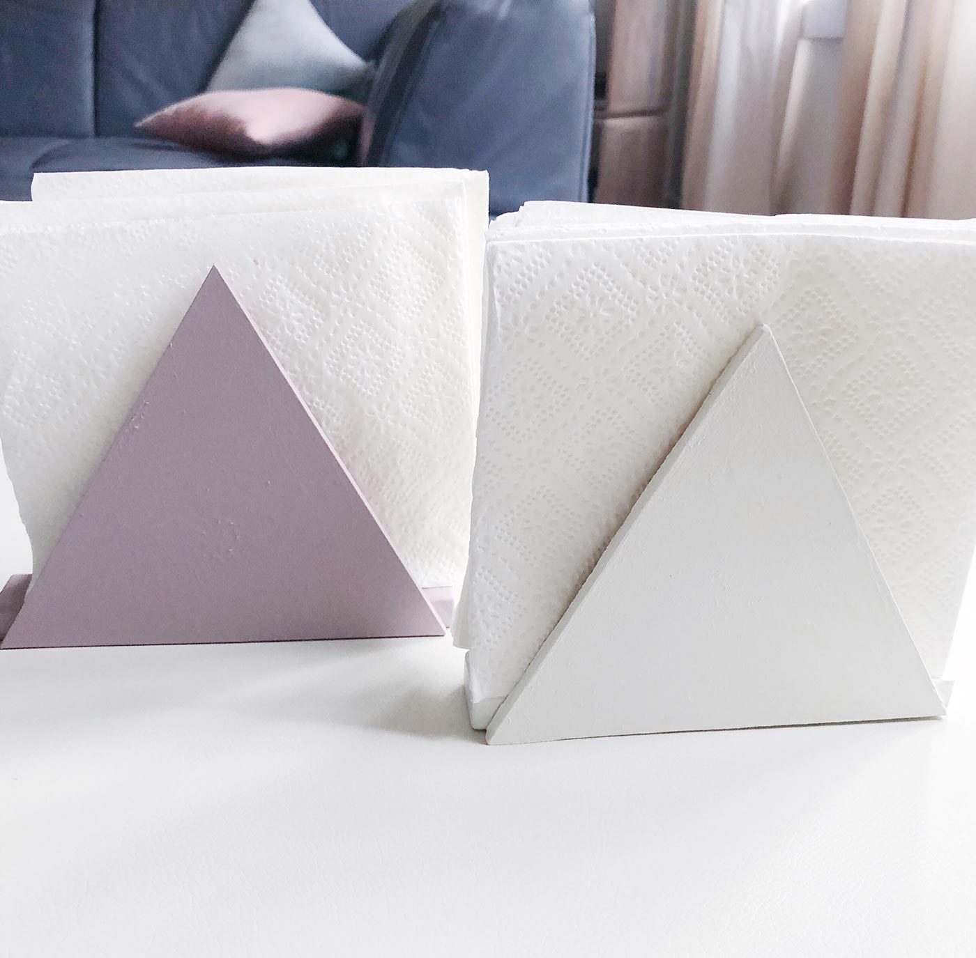 DIY triangle napkin holders of painted wood