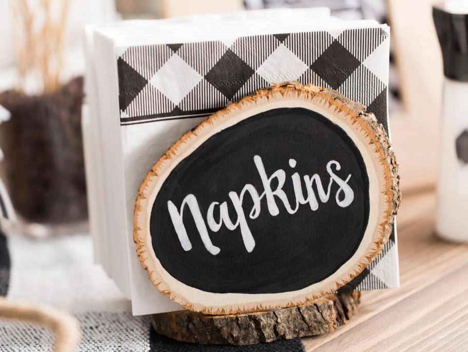 DIY wood slice chalkboard napkin holder for a rustic touch