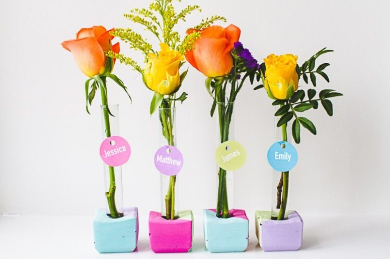 DIY colorful concrete and test tube vases with name cards (via www.bespoke-bride.com)