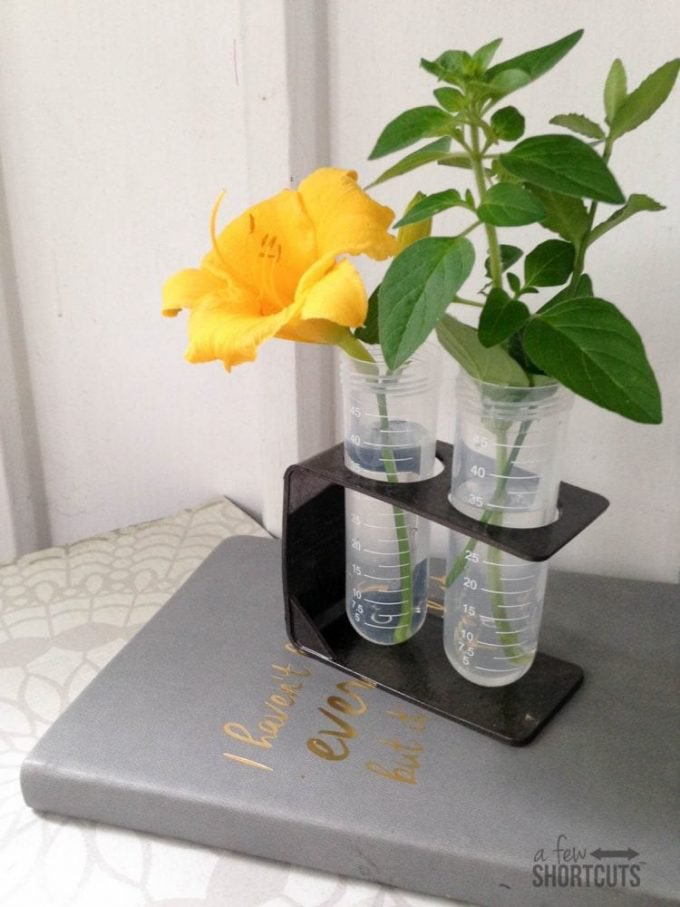 DIY test tube vase holder for a couple of bucks (via afewshortcuts.com)
