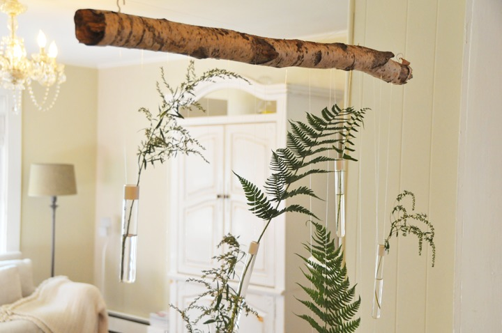DIY hanging test tube installation for greenery or blooms (via www.adailysomething.com)