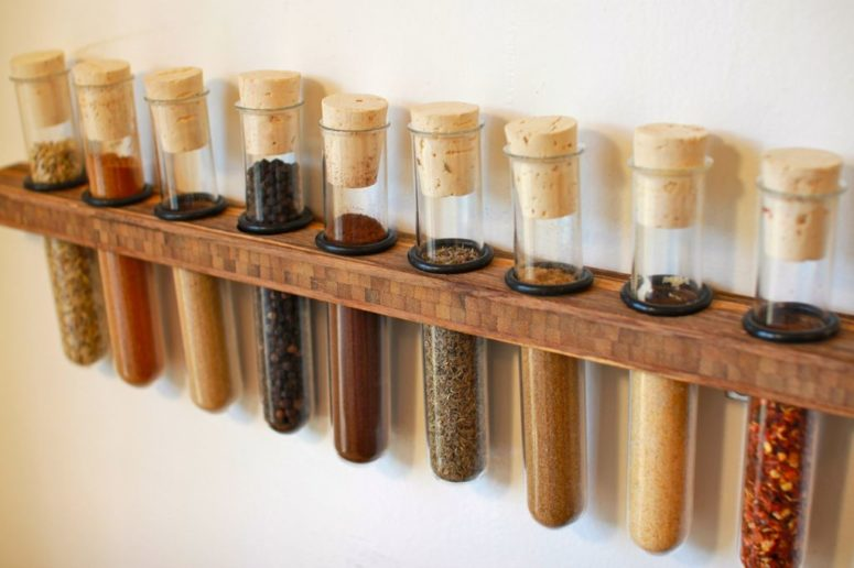 DIY test tube spice rack mounted to the wall (via www.instructables.com)