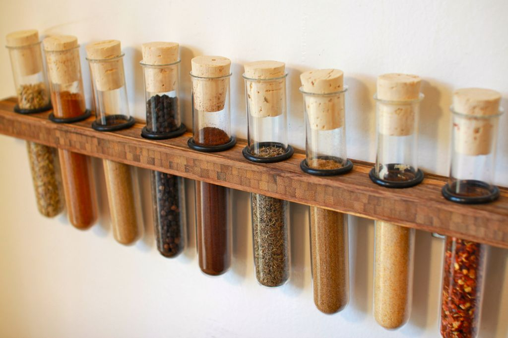 DIY test tube spice rack mounted to the wall