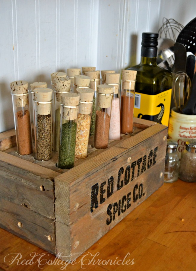 DIY rustic wooden box with test tubes to hold your spices (via www.redcottagechronicles.com)