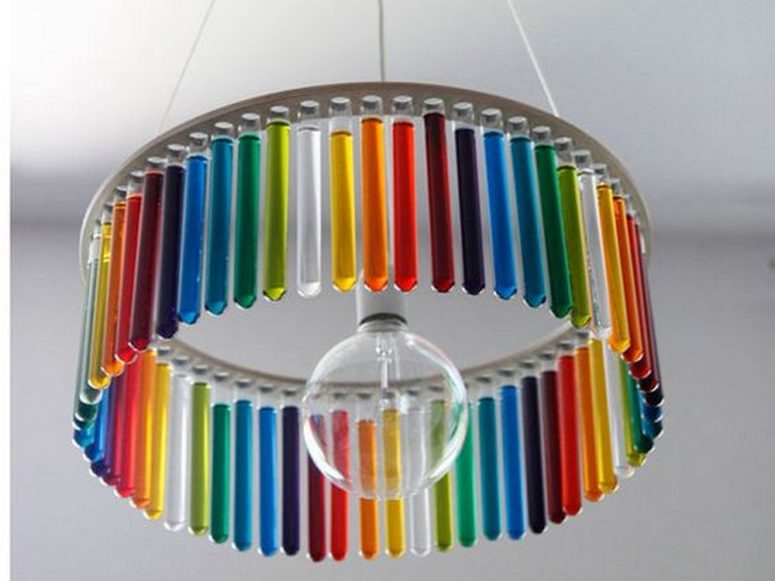 DIY colorful round test tube chandelier (via craft.ideas2live4.com)