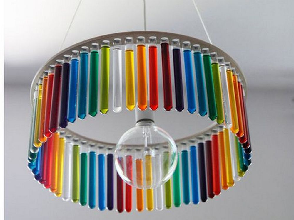 DIY colorful round test tube chandelier