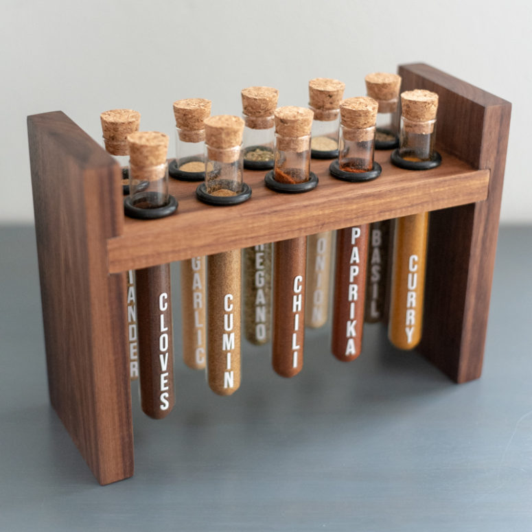 DIY chic rustic test tube spice rack of wood  (via www.ana-white.com)