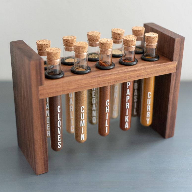 DIY chic rustic test tube spice rack of wood  (via www.ana-white.com)