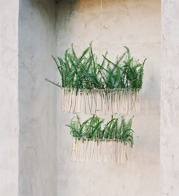 DIY test tube chandelier with greenery for a wedding or party (via www.oncewed.com)