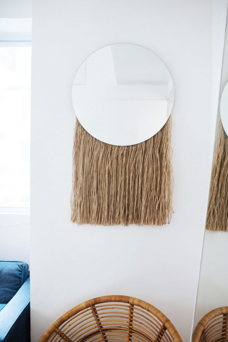 DIY round mirror with long fringe attached to the back (via undefined)