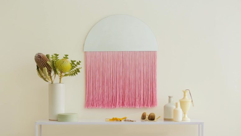 DIY semi circle mirror with pink fringe (via undefined)