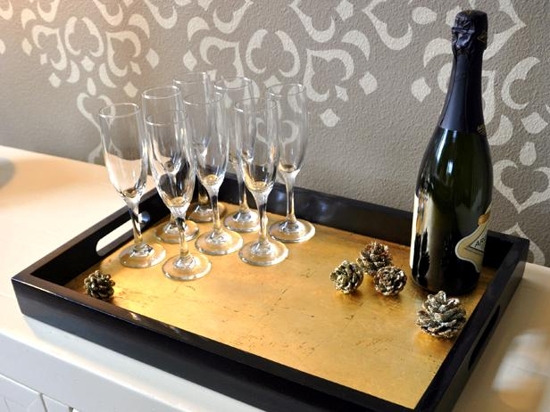 DIY elegant gold leaf tray