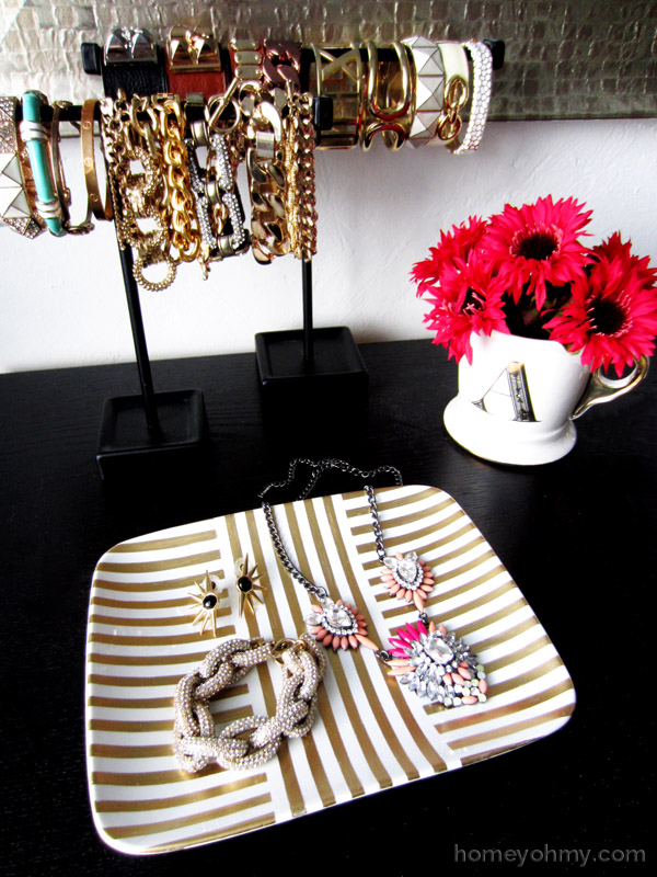 DIY striped gold leaf painted jewelry dish