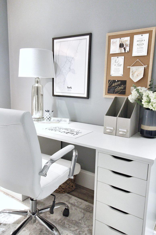 a minimalist IKEA Alex drawer desk with a Linnmon tabletop (via emilyeveryday.co)