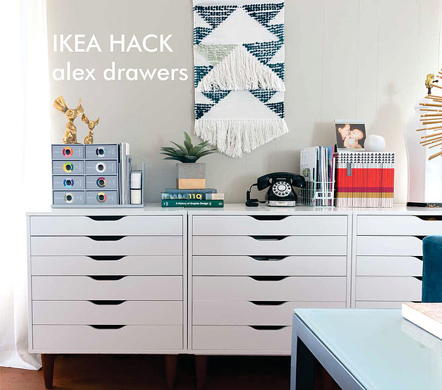 DIY IKEA Alex drawer units placed on legs (via www.taralenneydesign.com)