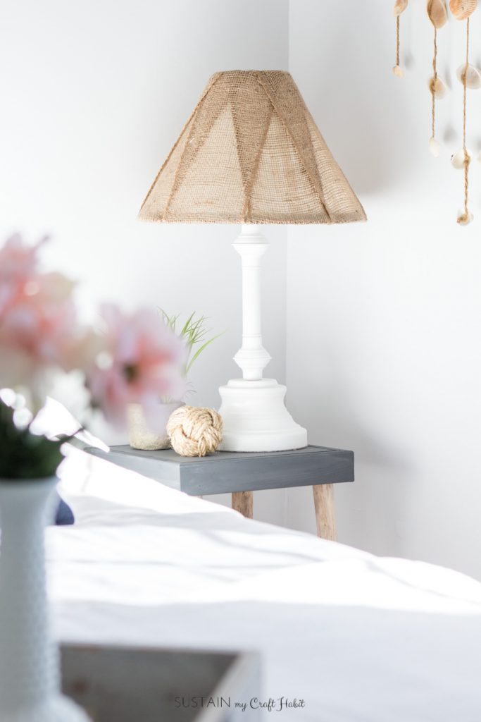DIY vintage rustic table lamp with a burlap lampshade