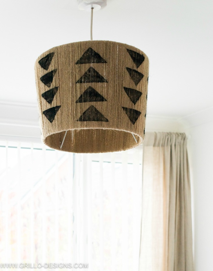 DIY jute lampshade with arrows