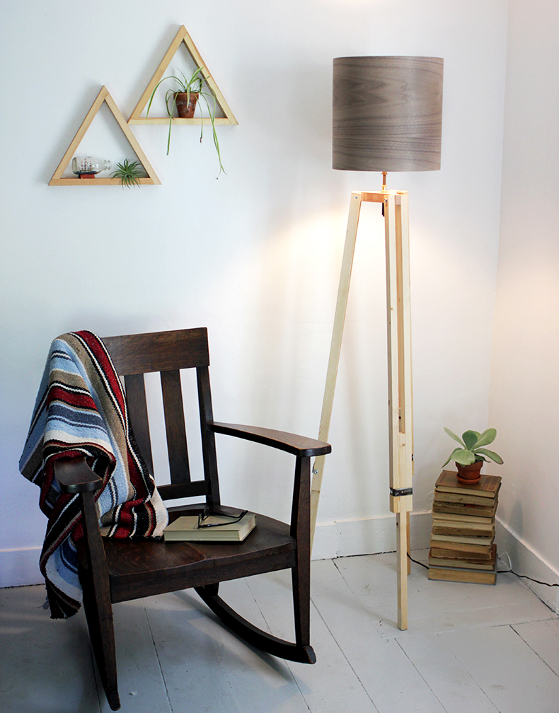 DIY tripod floor lamp with a wood grain lampshade