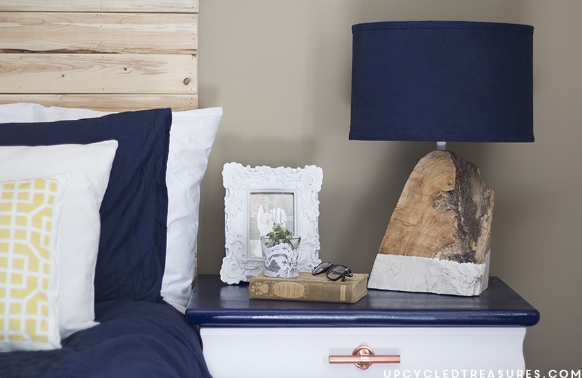 DIY modern rustic table lamp with a living edge