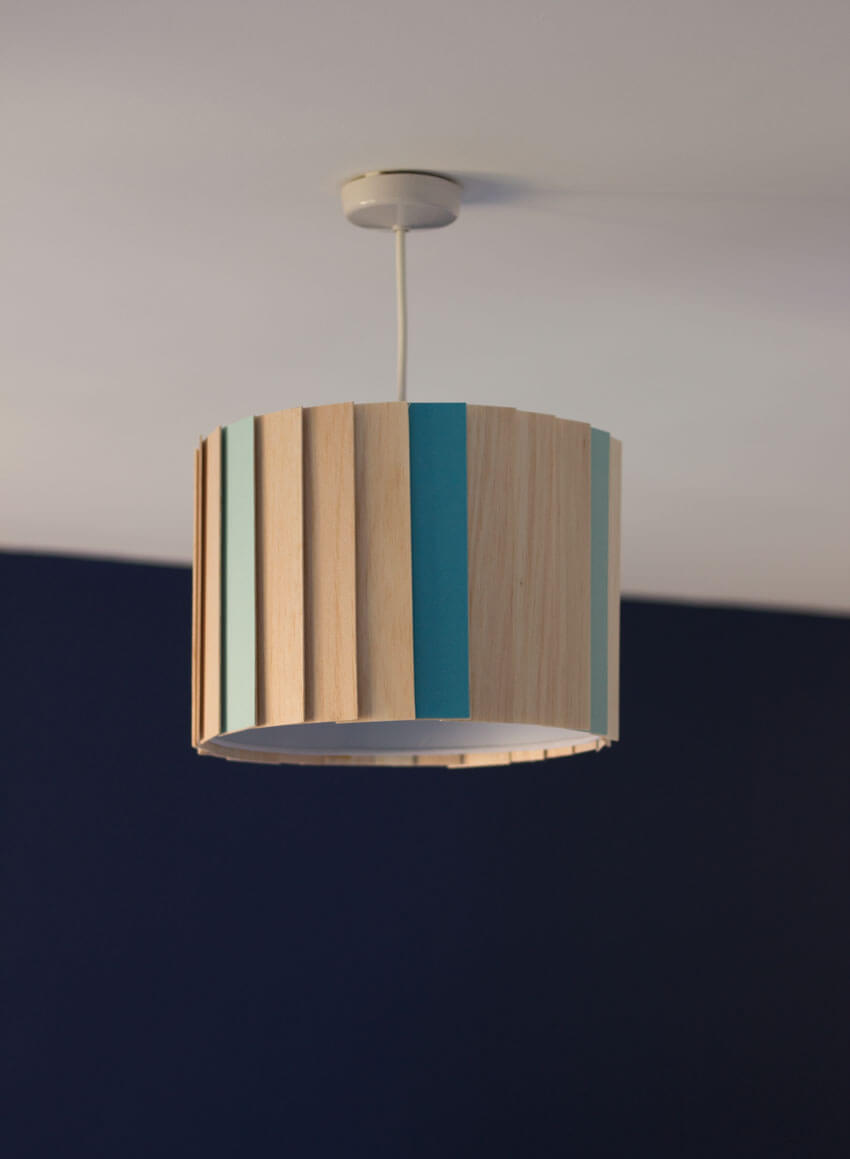 DIY Scandinavian wood piece lampshade