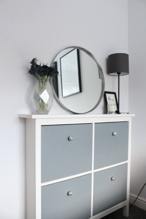 DIY elegant Hemnes shoe cabinet hack with grey paint and new knobs (via undefined)