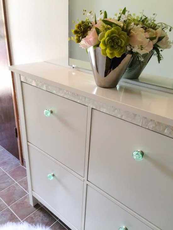 DIY refined Hemnes shoe cabinet makeover with mother-of-pearl veneer (via undefined)