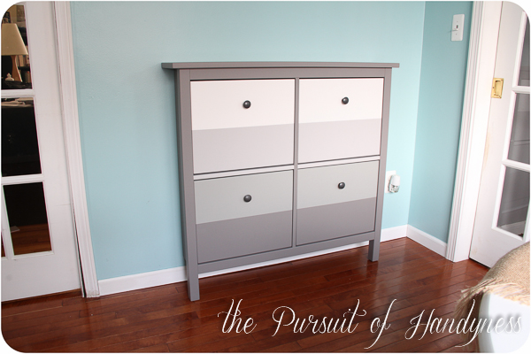 DIY painted striped IKEA Hemnes shoe cabinet hack