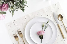 DIY simple black and white speckled placemats